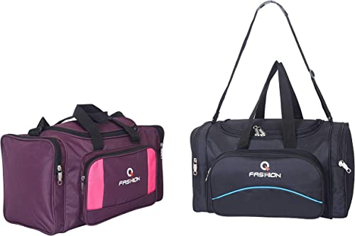 Luggage Set Collections47 litres Each Polyester Travel Duffle Bags Black Blue Wine Set of 2 Pcs