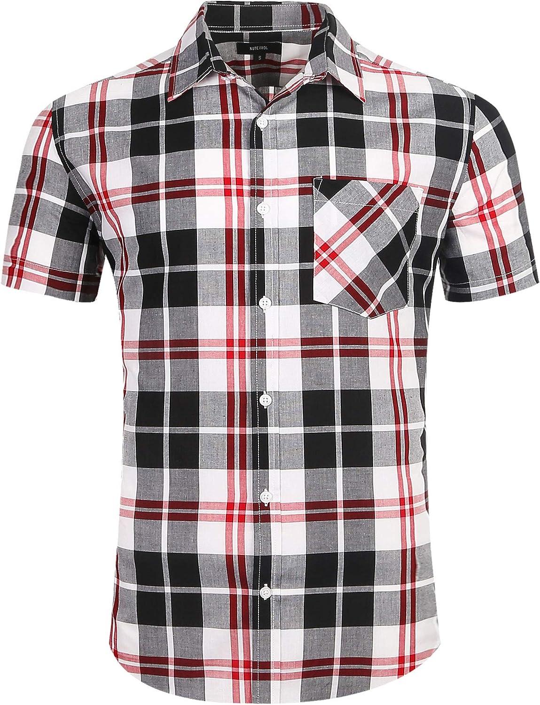 Men's Button Down Plaid Short Sleeve Work Casual Western Shirt