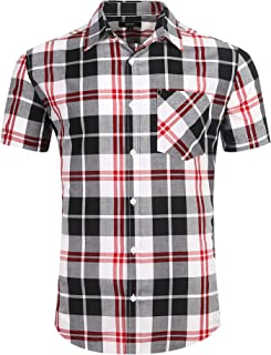 Men's Button Down Plaid Short Sleeve Work Casual Western Shirt