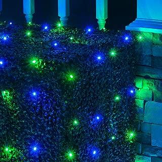 Wintergreen Lighting LED Net Lights Outdoor LED Holiday Lights Net, Outdoor Decorative Lights Christmas Net Lights, Hedge Christmas Lights, Set of 100 (4 x 6 ft, 5mm Lights, Blue/Green)