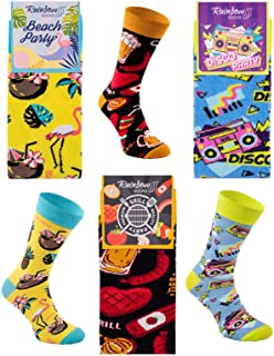 Rainbow Socks, Hombre Mujer Divertidos Altos Calcetines Party - 1/3 Pares