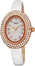 Burgi Swarovski Crystals Oval Watch – Genuine Swarovski Studded Double Row Crystals, Patent Leather Strap, 12 Crystal Markers On Mother of Pearl Dial - Mother's Day Gift- BUR234