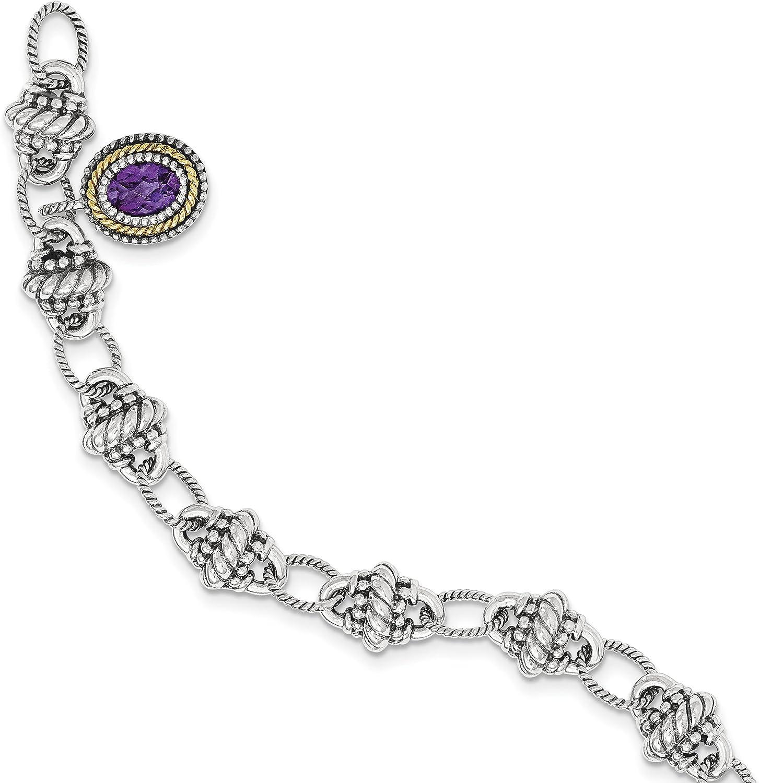 14k gold and Sterling Silver Amethyst Bracelet