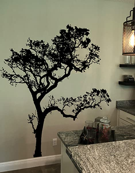 Black 6ft Tall Oak Tree Wall Decal For The Living Room Bedroom Bathroom Or Nursery 409A
