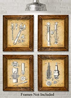 Original Auto Mechanic Tools Patent Prints - Set of Four Photos (8x10) Unframed - Makes a Great Gift Under $20 for Car Lovers/Mechanics