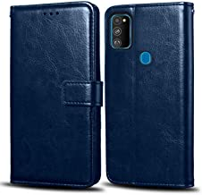 WOW Imagine Samsung Galaxy M30s Flip Case | Premium Leather Finish | Inside TPU with Card Pockets | Wallet Stand | Shock Proof | Magnetic Closure | 360 Degree Complete Protection Flip Cover for Samsung Galaxy M30s - Blue