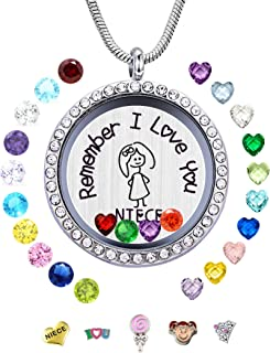 30mm Stainless Steel Living Memory Floating Locket Necklace Pendant with Charms and 24..