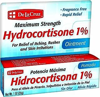 De La Cruz Hydrocortisone 1% Ointment, Maximum Strength, No Preservatives, Colors or Fragrances, Made in USA, 1 OZ.
