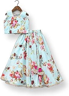 NK fashion Readymade Ethnic wear Digital Rosii Blue Girls lehenga choli (2-14 years rosiblue)