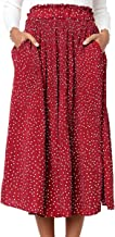 ECOWISH Womens Polka Dot Pockets Pleated Skirt Vintage Puffy Swing Casual Dress