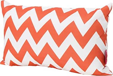 Christopher Knight Home Jerry Outdoor Orange and White Chevron Water Resistant Rectangular Throw Pillow (Set of 2)