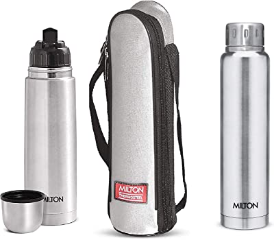 Milton Thermosteel Flip Lid Flask, 1000 millilitres, Silver & Elfin Thermosteel Vacuum Flask, 500 ml, Sliver Combo