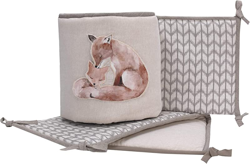 Lambs Ivy Painted Forest Gray Tan Fox Nursery 4 Piece Baby Crib Bumper