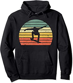 Vintage Retro Skateboarding Sunset: Trick Skateboard Pullover Hoodie