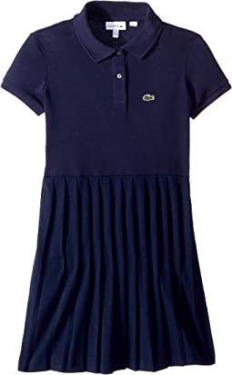 Short Sleeve Petit Pique Pleated Dress (Toddler/Little Kids/Big Kids)