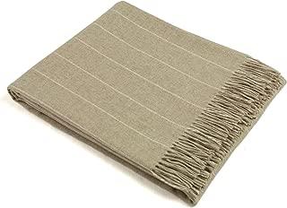 Wool Throw Blanket by Bronte - Merino Lambswool - Pinstripe (Beige)