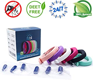 Fizbit Mosquito Repellent Bracelets- #1 Premium Natural Pest Control Bug Insect Fly Repellent- Non-Toxic Safe & Waterproof Refillable Bracelet Band for Kids & Adults