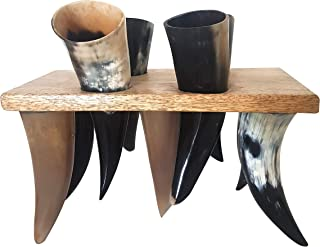 Antique Ceremonial Viking Drinking Horn Set Of 4 Mead Ale Goblets Shot With Wooden Holder Ancient Beer Vessel Chalices