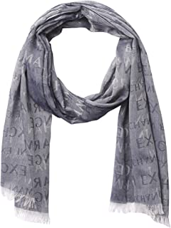 A|X Armani Exchange Men's All Over Logo Print Jacquard Scarf, Navy - Navy, OS