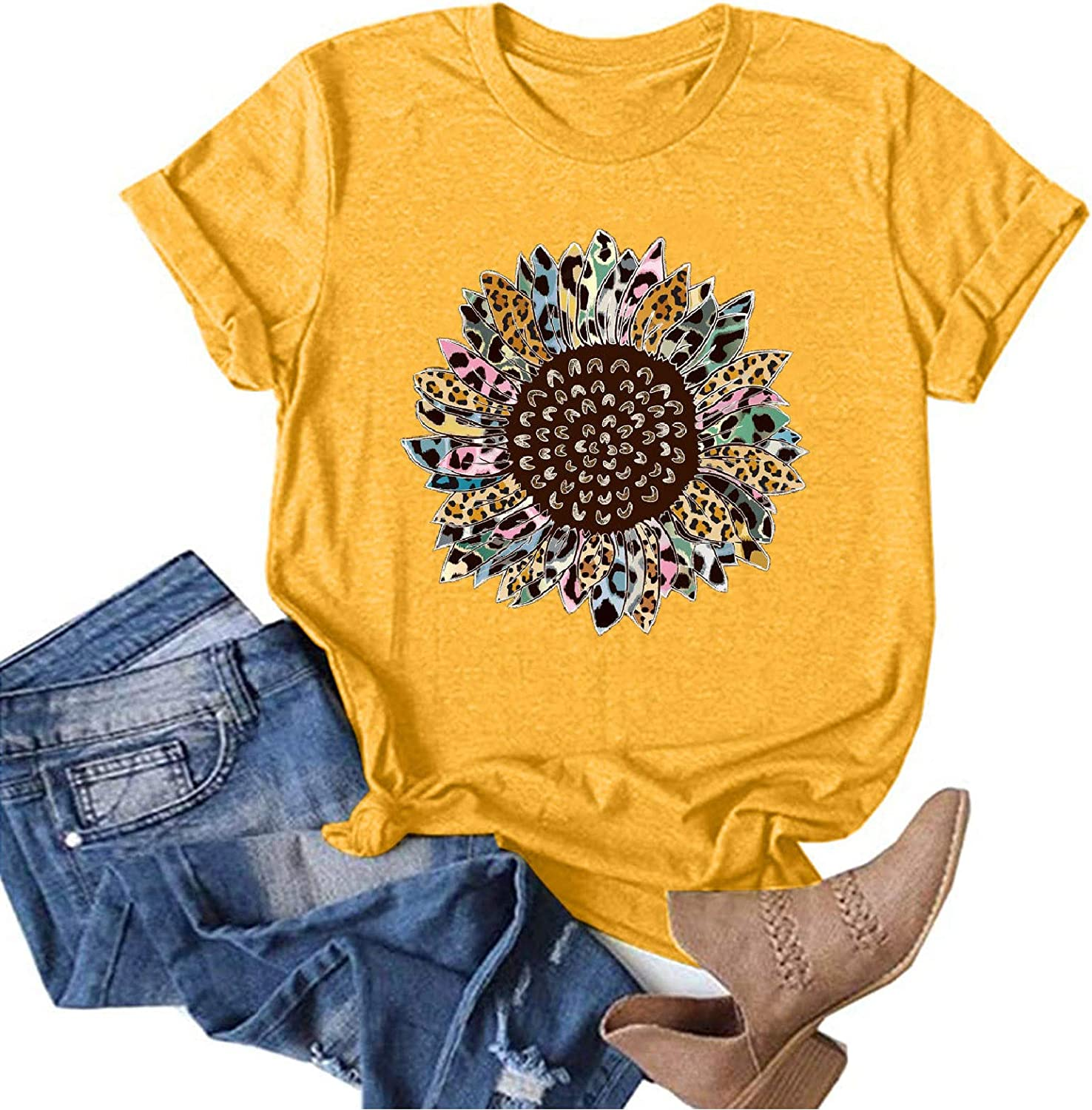 Deluxe Aukbays Womens Short Sleeve Tops Cute Ca Letters specialty shop Printing