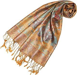 5ac2c9a43a6dc LORENZO CANA Pashmina pour la femme - écharpe de 100% soie avec les mesures  de 35 x 160 cm - fait à la main – souple élégant en beige orange sable  cuivre ...