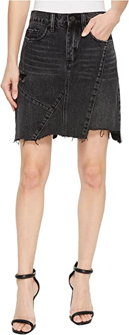 High-Rise Asymmetric Mini Skirt in Black Ice