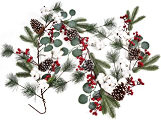 6Ft Christmas Garland with Pinecones Berries Cotton Vine Floral Table Runner for Wedding Arch Swag Backdrop Christmas Décor