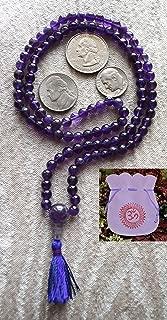 AMETHYST JAPA MALA 6 MM BEADS TOP GRADE PRAYER NECKLACE. BLESSED & ENERGIZED (108+1) HINDU TIBETAN BUDDHIST PRAYER KARMA BEADS SUBHA ROSARY MALA FOR NIRVANA, BHAKTI, FOR REMOVING INNER DOSHAS, FOR CHANTING AUM OM, FOR AWAKENING CHAKRAS, KUNDALINI THROUGH YOGA MEDITATION-FREE OM MALA POUCH INCLUDED