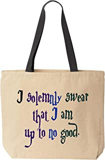 BeeGeeTees I solemnly swear that I am up to no good Canvas Tote Funny Wizard Reusable Bag (Ole)