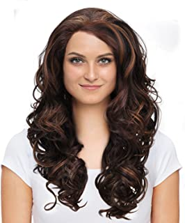 Synthetic Lace Front Curly Wig for Women, Medium Length Natural Looking Wave Hair Wigs