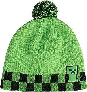 JINX Minecraft Creeper Sprite Pom Knit Beanie, Green/Black, Youth Fit