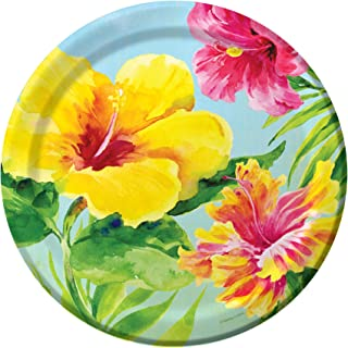 Creative Converting 18 Count Paper Dinner Plates, Heavenly Hibiscus
