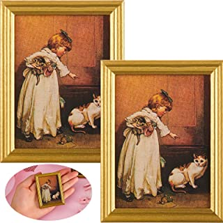 Skylety 2 Pieces Dollhouse Decoration Accessories 1:12 Dollhouse Miniature Painted Wooden Frame Mural Accessories Golden P...