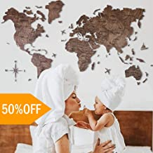 Wood World Map Wall Art. Large Wall Decor - World Travel Map ALL Sizes (M, L, XL). Any Occasion Gift Idea - Wall Art For Home & Kitchen or Office