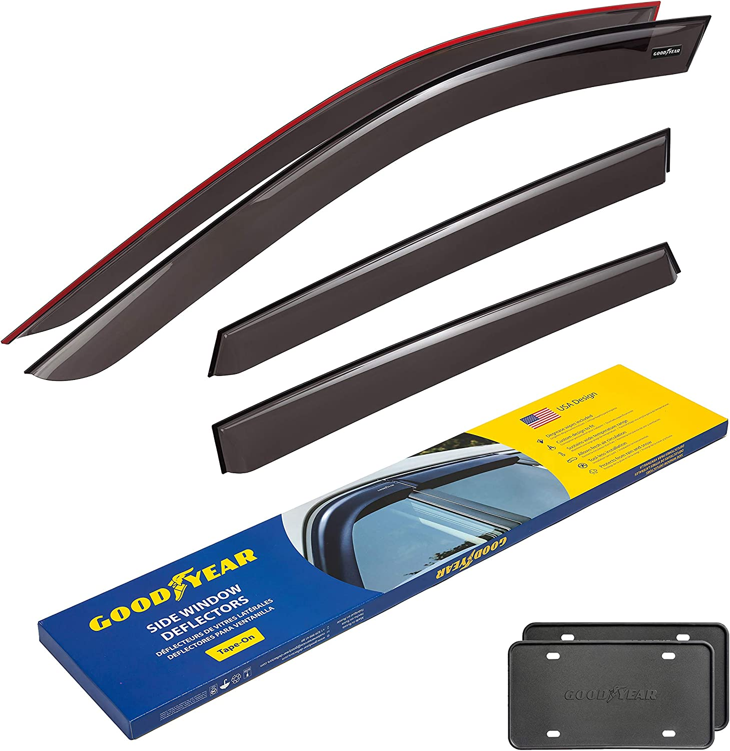 New popularity Goodyear Side Window Deflectors for Tape-o Mazda 2017-2021 CX-5 Max 76% OFF
