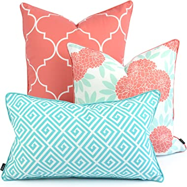 Hofdeco Spring Indoor Outdoor Pillow Cover ONLY, Water Resistant for Patio Lounge Sofa, Aqua Coral Pink Moroccan Maze Floral,