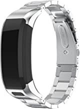 ANCOOL Compatible with Vivosmart HR Bands, Accessory Stainless Steel Replacement Bracelet Unique High Grade Watch Decor Band Metal Straps for Garmin Vivosmart HR(NOT for Vivosmart HR+) -Silver