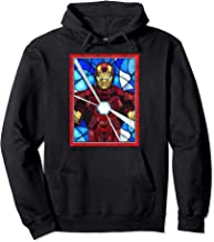 Marvel Iron Man Arc Reactor Beams Stained Glass Portrait Pullover Hoodie