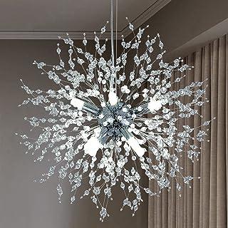 Éclairage de lustre moderne de feu d'artifice 8 lumières Spoutnik Lampes Luminaires en acier inoxydable Cristal Intérieur ...