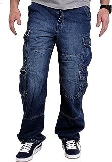 NEU Übergröße weit Stretch Jeans Hose Schlupf Gummizug Gummibund 44-52 blau D