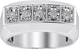 Trillion Jewels 0.25 CT Round Cut Diamond in 14K White Gold Finish Five Stone Mens Ring