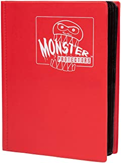 Monster Binder - 4 Pocket Trading Card Album - Matte Red - Holds 160 Yugioh, Magic, and Pokemon Cards