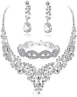 Fiasaso Crystal Bridal Jewelry Set for Women Rhinestone Necklace Earrings Bracelet Wedding Bridesmaid
