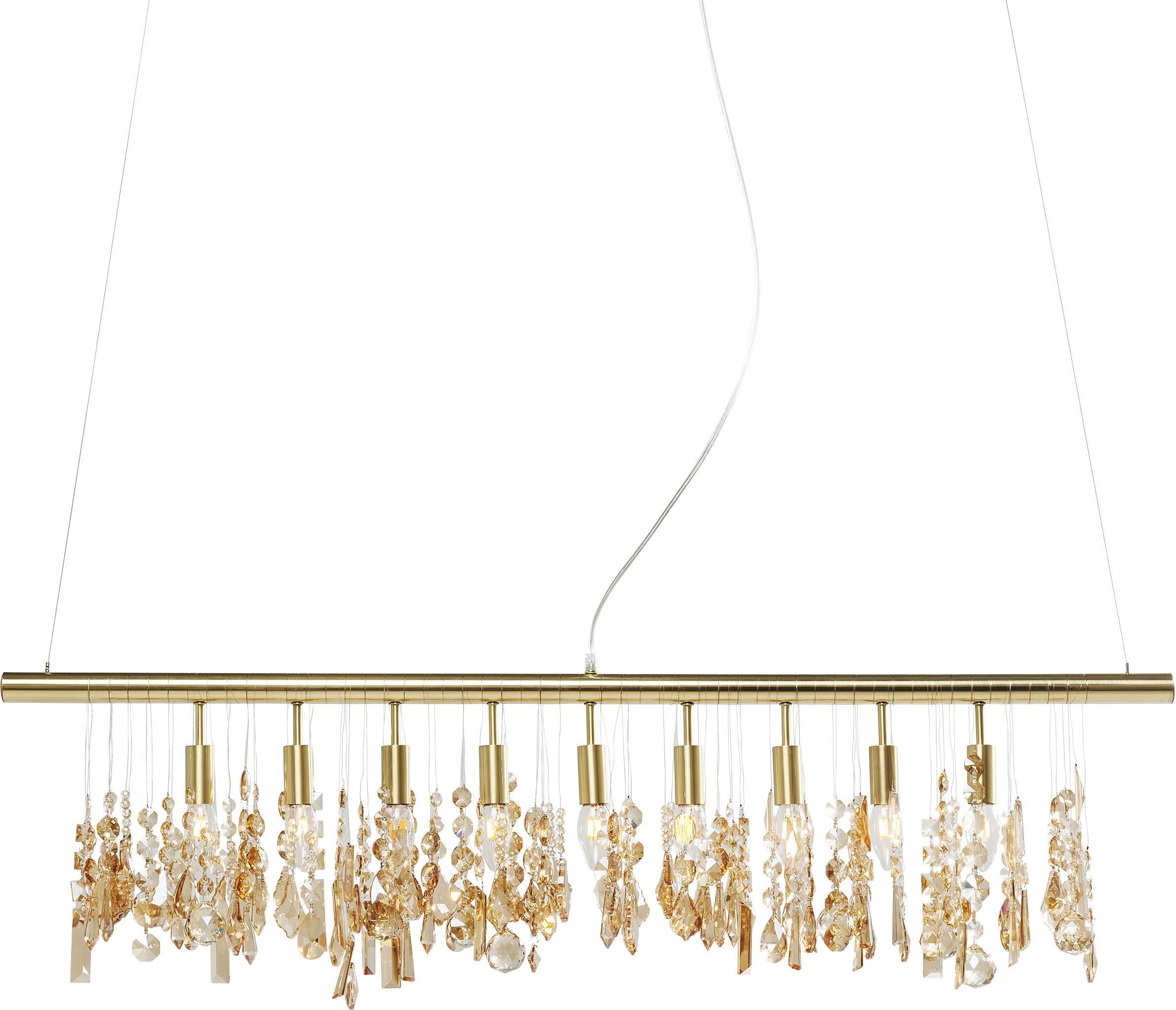 Kare DesignシャンデリアKlunkerデラックス真鍮製、リビングルーム用ランプ、シャンデリア、ダイニングテーブルランプ、ゴールド(高さ/幅/奥行き)165 x 123 x 4 cm