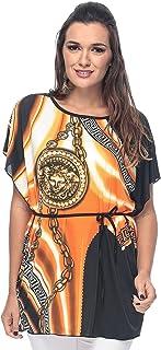 ZmuruD Orange Jersey Round Neck Blouse For Women