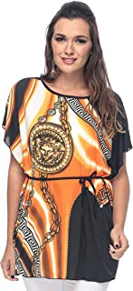 ZmuruD Orange Jersey Round Neck Blouse For Women