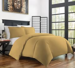 Zen Bamboo Ultra Soft 3-Piece Rayon Derived from Bamboo Duvet Cover Set -Hypoallergenic and Wrinkle Resistant - King/Cal King - Gold