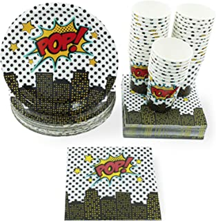 Disposable Dinnerware Set - Serves 36 - Superhero Party Supplies for Kids Birthdays, Comic Themed Parties, Includes Paper Plates, Napkins, Cups