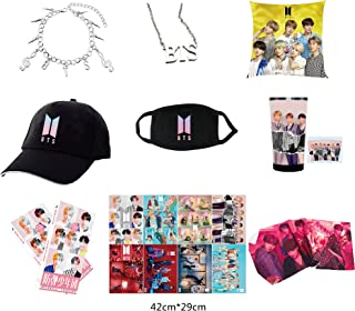 JUNG KOOK Kpop BTS Gifts Set for Army Love Yourself Baseball Cap Poster Necklace Mask