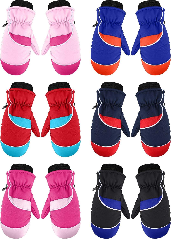 6 Pairs Kids Winter Snow Mittens Waterproof Warm Ski Gloves Unisex Gloves for Cold Weather Children (3 - 6 Years) : Sports & Outdoors